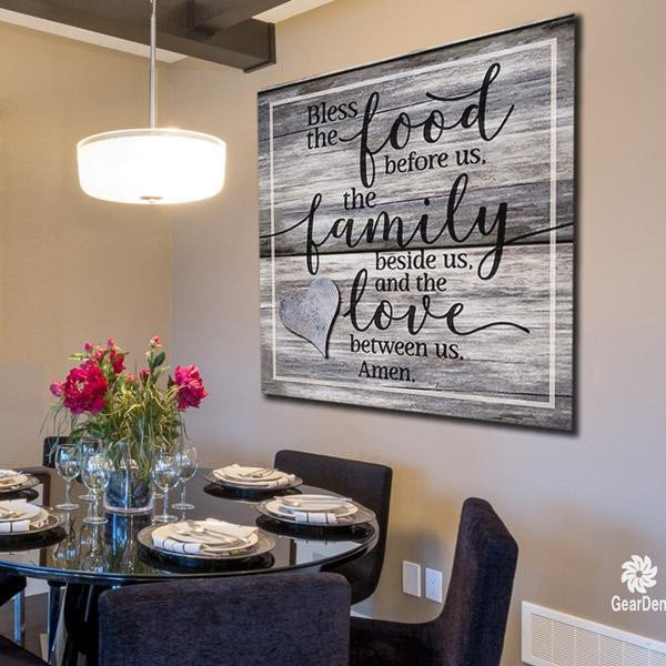 "Large Dining Room Wall Decor Unique Canvas Wall Art ""bless the Food Family Love Amen"" Quote Gearden"