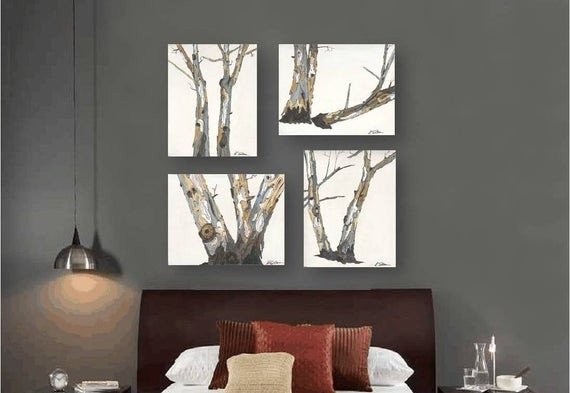 Large Dining Room Wall Decor Unique Very Large Wall Art Set Canvas Print Tree Trunks Artwork White Living Dining Room Office Kitchen