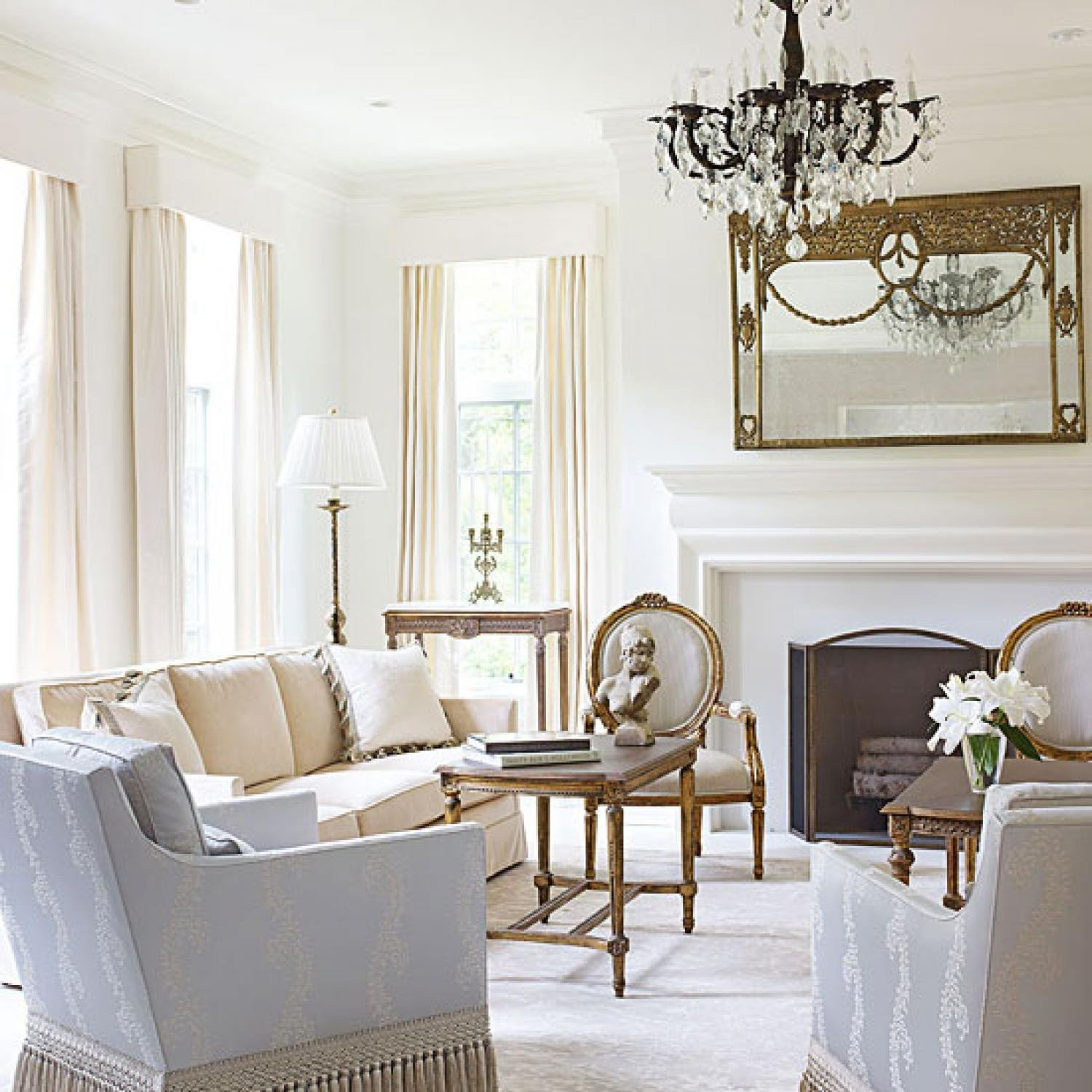 Living Room Traditional Home Beautiful Bright White and Inviting Family Home