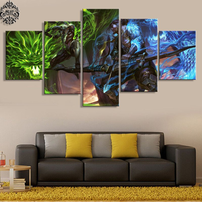 Living Room Wall Decor Pictures Awesome 5 Pieces Game Poster Overwatch Genji and Hanzo Canvas Painting Home Decor for Living