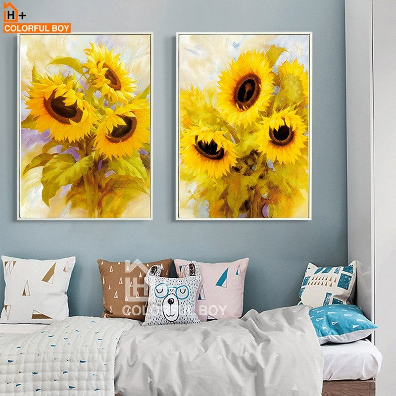 Living Room Wall Decor Pictures Awesome Colorfulboy nordic Print Poster Blooming Sunflower Wall Art Canvas Painting Living Room Study