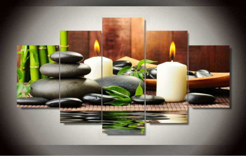 Living Room Wall Decor Pictures Beautiful Wall Art Botanical Green Feng Shui White Candle Wall Painting Canvas Wall for Living