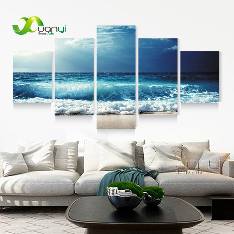 Living Room Wall Decor Pictures Best Of 5 Panel Ocean Sea Wave Seascape Canvas Oil Painting Beach Wall Art for Living Room