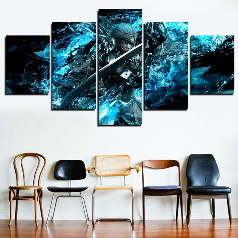 Living Room Wall Decor Pictures Elegant 5 Panel Canvas Painting Metal Gear solid Home Decor for Living Room Game Poster Modern
