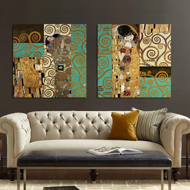 Living Room Wall Decor Pictures Elegant Aliexpress Buy Artists Gustav Klimt the Kiss Wall Pictures for Living Room Canvas Art