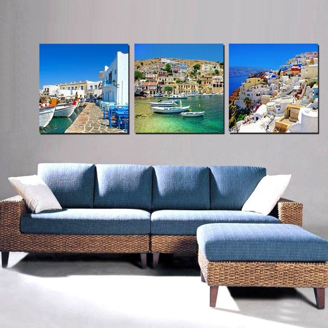 Canvas Painting Wall Art For Living Room Decorations Home Decor Greek Island Landscape Beautiful
