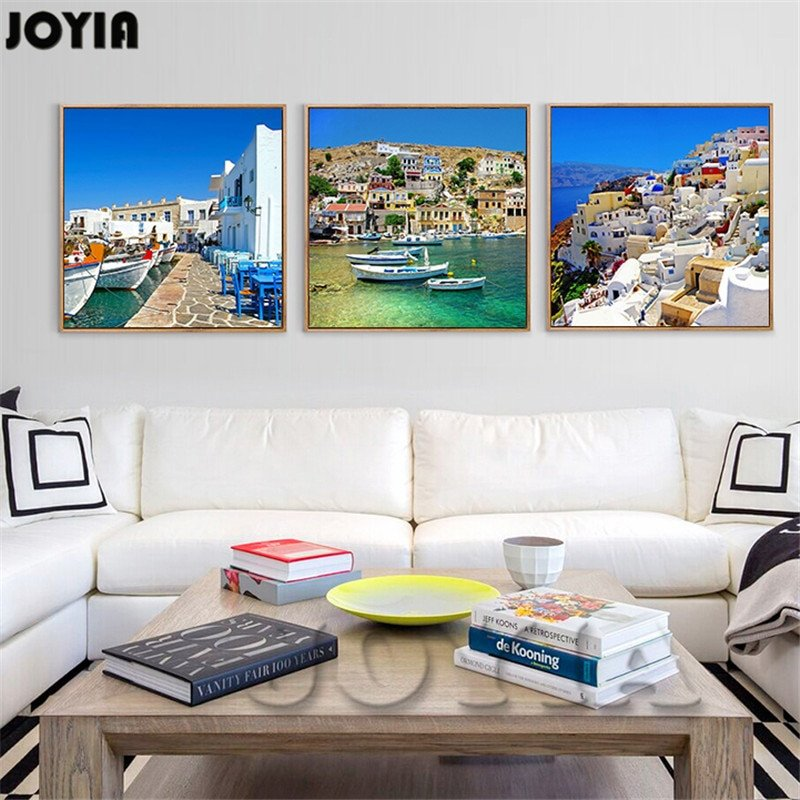 Living Room Wall Decor Pictures New Canvas Painting Wall Art for Living Room Decorations Home Decor Greek island Landscape Beautiful