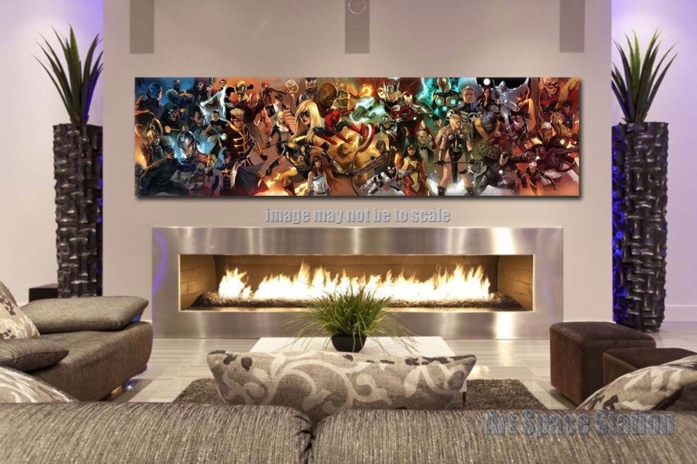 Living Room Wall Decor Pictures Unique Aliexpress Buy Avengers Superhero Marvel Ics Movie Poster Print 60x16inch Giant Canvas