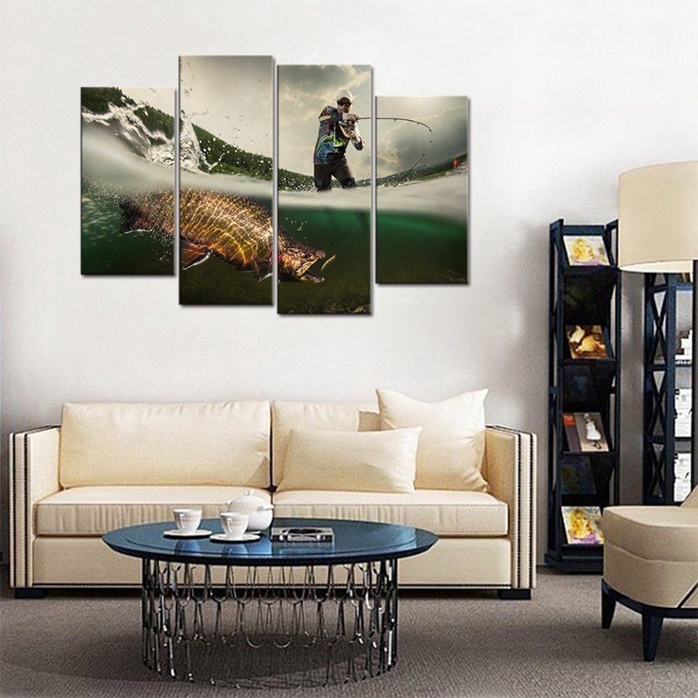 Mens Living Room Wall Decor Elegant Fishing Picture Big Fish Poster Wall Art for Living Room Canvas Prints Fishing Gifts for Men