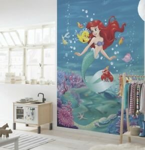 Mermaid Decor for Kids Room Beautiful Wall Mural Wallpaper Disney Mermaid 254x184cm Photo Decor for Kids Room