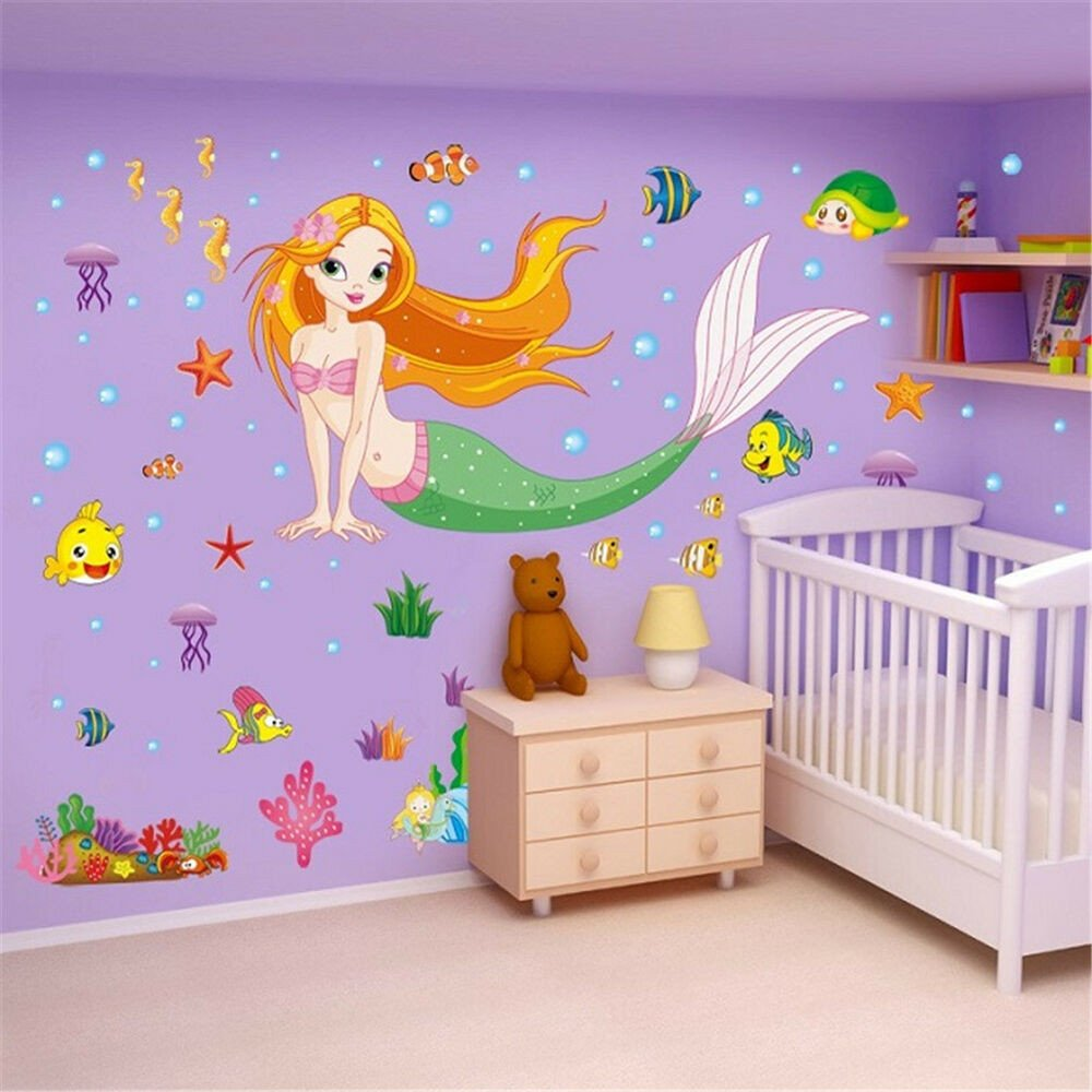 Mermaid Decor for Kids Room Elegant Mermaid Cartoon Removable Decals Wall Stickers Mural Art Home Kids Room Decor