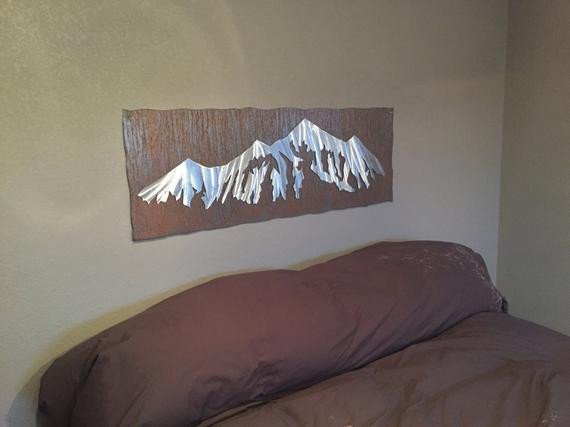 Metal Wall Decor for Bedroom Elegant Mountain Artwork for Your Bedroom Bed Headboard Metal Wall