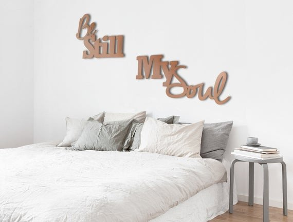 Metal Wall Decor for Bedroom Fresh Be Still My soul Metal Wall Art Wall Quote Bedroom Art