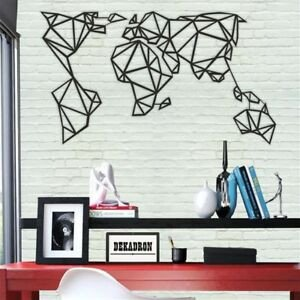 Metal Wall Decor for Bedroom Unique Geometric World Map Metal Wall Decor Home Fice Living Room Bedroom Decoration