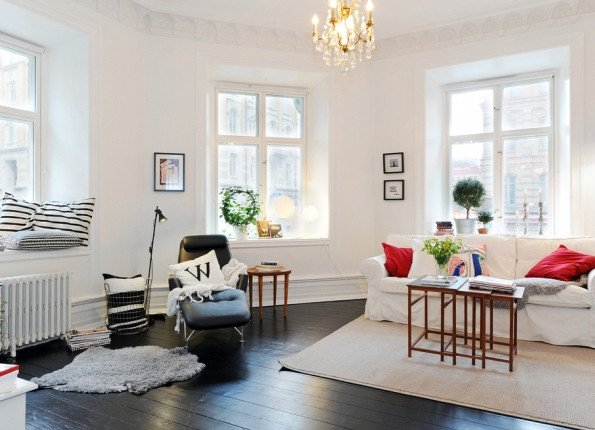 Small and Minimalist Living room Design in Sweden