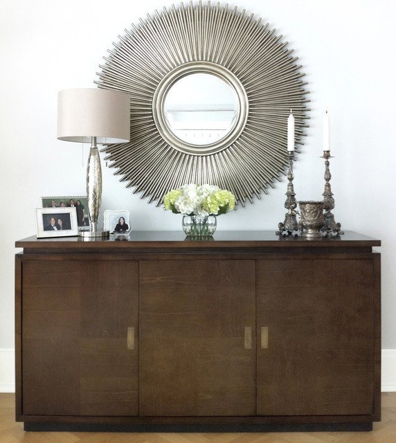 Mirrors Contemporary Living Room Elegant Credenza & Mirror Modern Living Room New York by David Schaf Interiors Llc