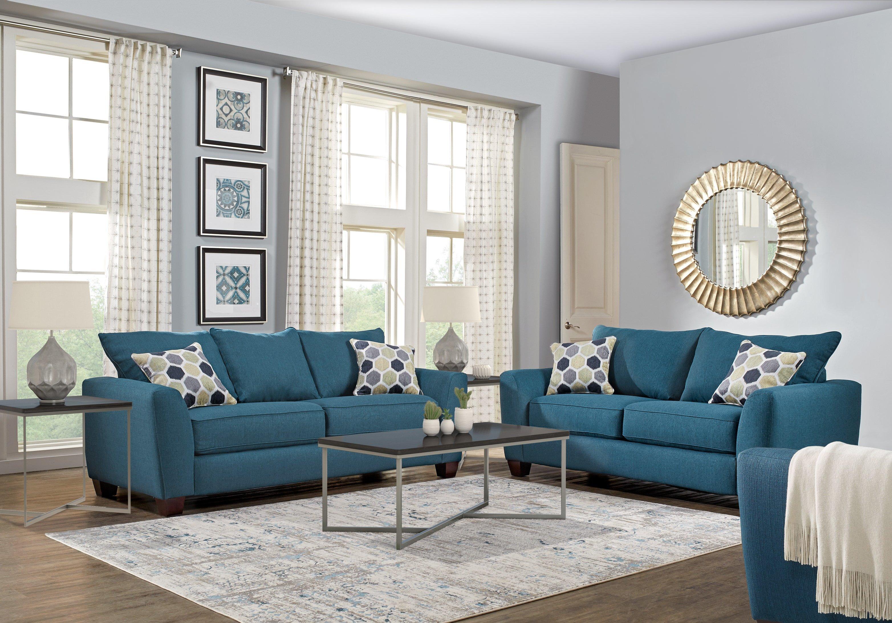 Modern Blue Living Room Decorating Ideas New Bonita Springs Blue 2 Pc Sleeper Living Room Living Room Sets Blue