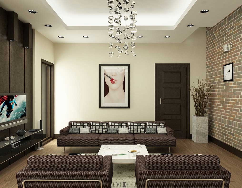 Modern Brown Living Room Decorating Ideas Awesome Modern Brown and White Living Room with Brick Wall Decor Interior Design Ideas