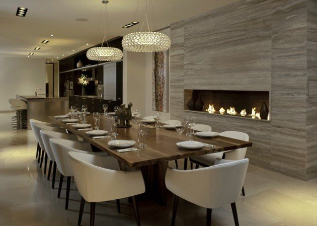 Modern Dining Room Wall Decor Inspirational 14 sophisticated Dining Rooms with Beautiful Fireplace