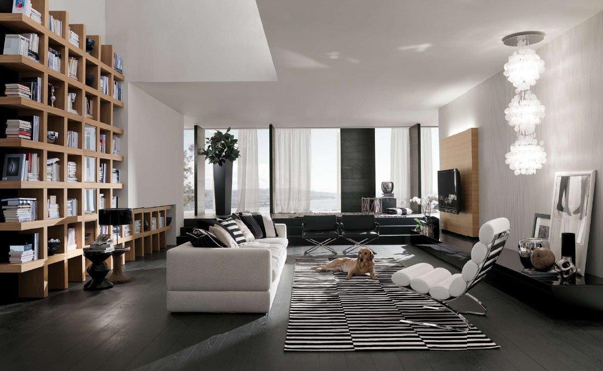 Modern Italian Living Room Decorating Ideas New Bookshelf as Room Focus In Interior Design