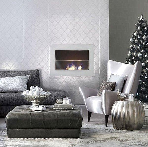 Modern Living Room Decorating Ideas Christmas Lovely Metallic Christmas Decorations In A Modern Living Room Decoist