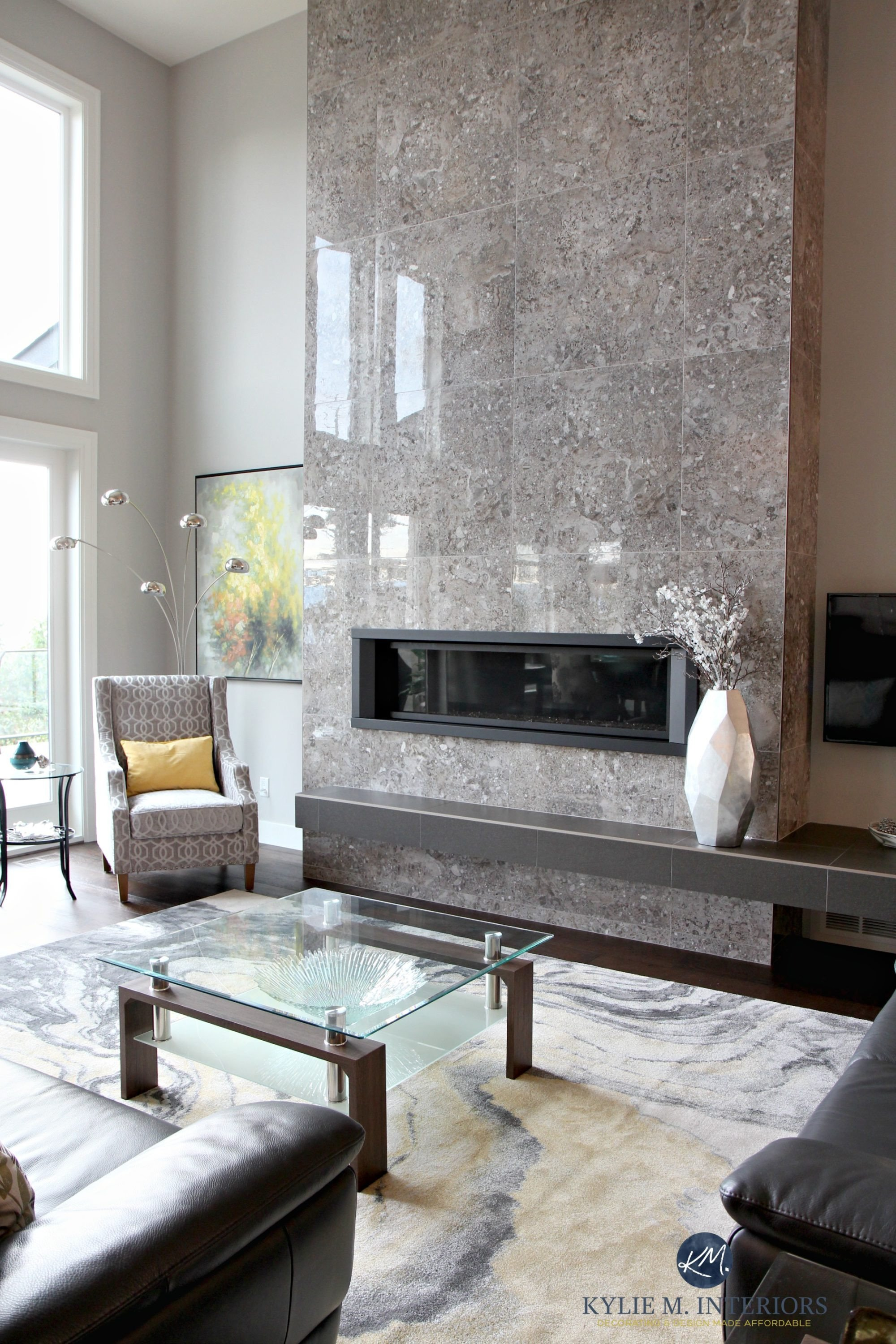 Modern Living Room Decorating Ideas Fireplace Elegant Contemporary Design Living Room with Tall Tile Fireplace with Modern Linear Gas Insert and