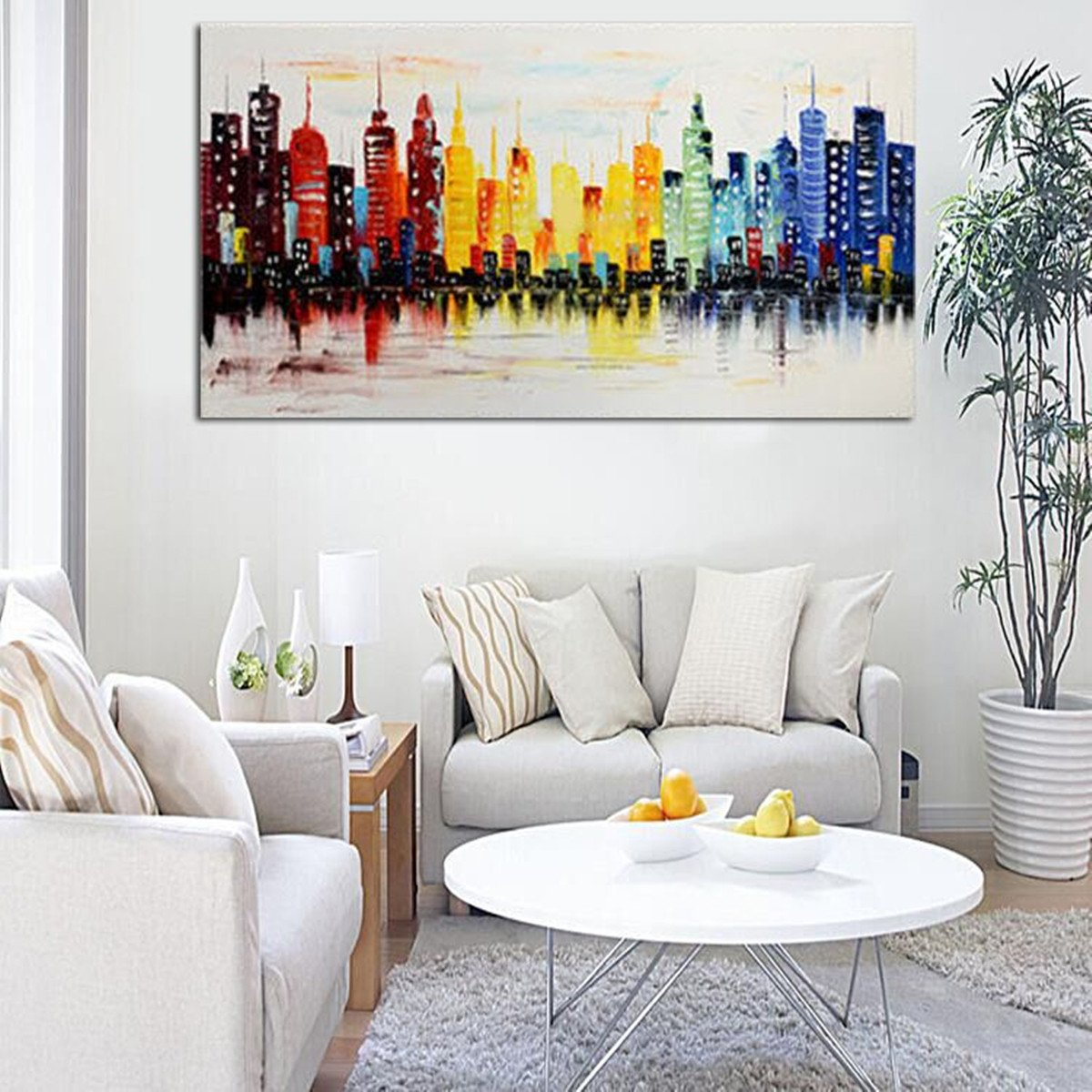 Modern Living Room Wall Decor Beautiful 120x60cm Modern City Canvas Abstract Painting Print Living Room Art Wall Decor No Frame