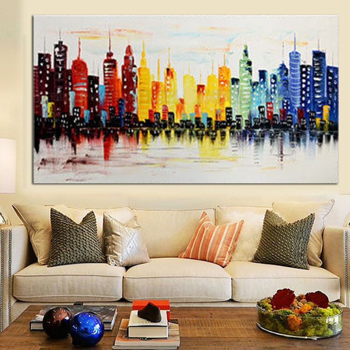 Modern Living Room Wall Decor Elegant 120x60cm Modern City Canvas Abstract Painting Print Living Room Art Wall Decor No Frame
