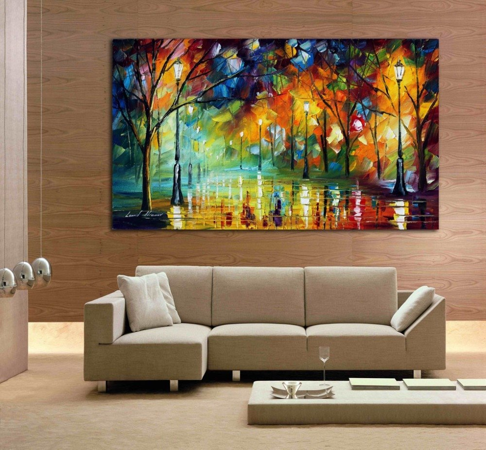 Modern Living Room Wall Decor Elegant Hand Drawn City at Night 3 Knife Painting Modern Living Room Wall Art Canvas Oil On