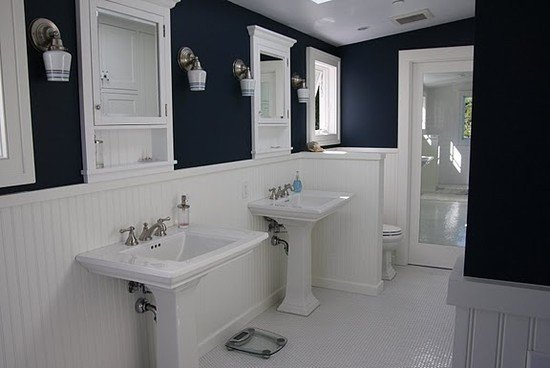 Navy and White Bathroom Decor Best Of Navy Bathroom White Wainscoting Home Decor Ideas