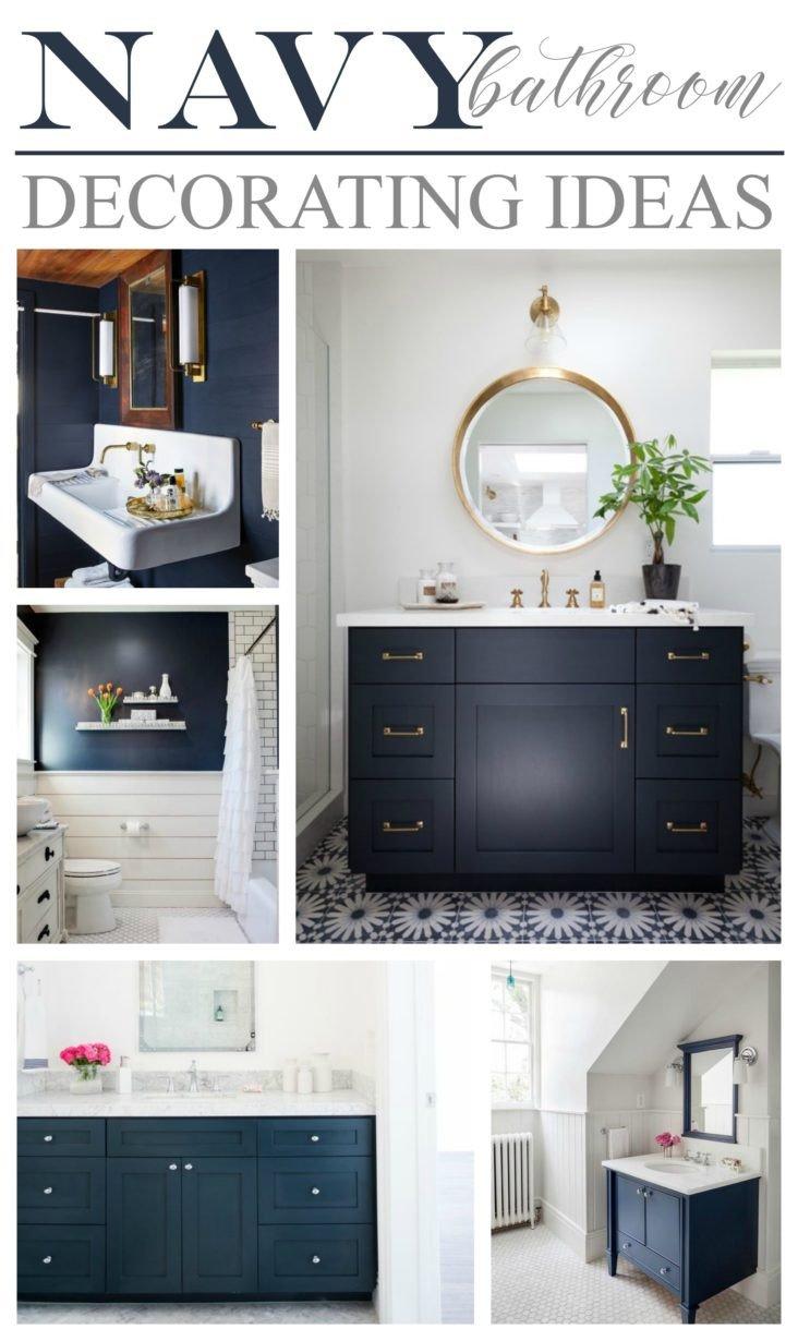 Navy and White Bathroom Decor Elegant Navy Bathroom Decorating Ideas
