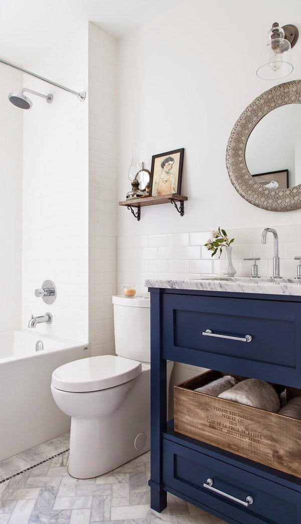 Navy and White Bathroom Decor Unique 5 Navy & White Bathrooms the Inspired Room