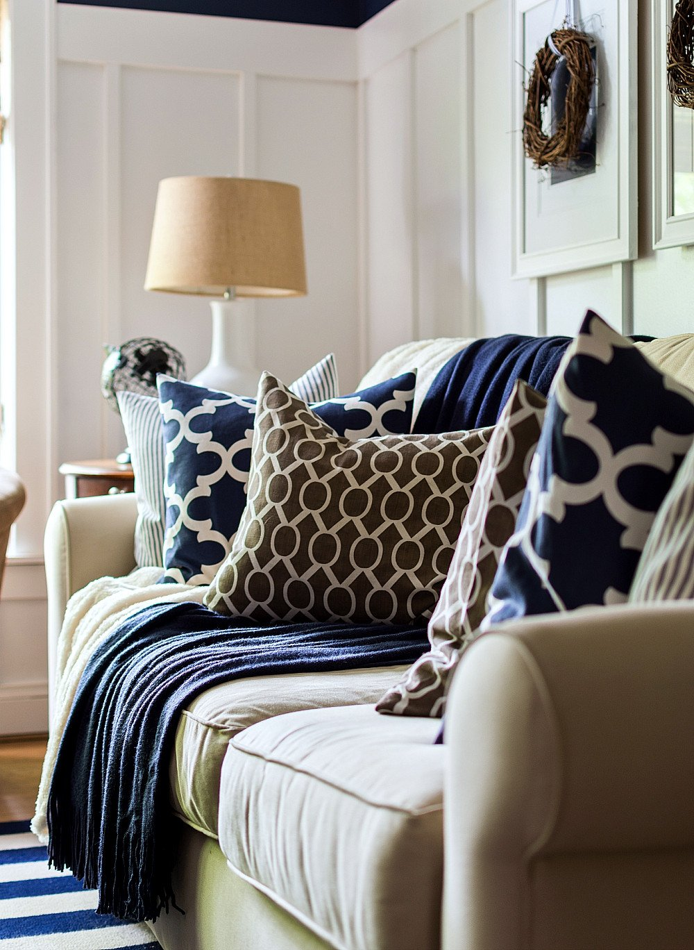 Navy Blue and White Decor Elegant Fall Decor In Navy and Blue