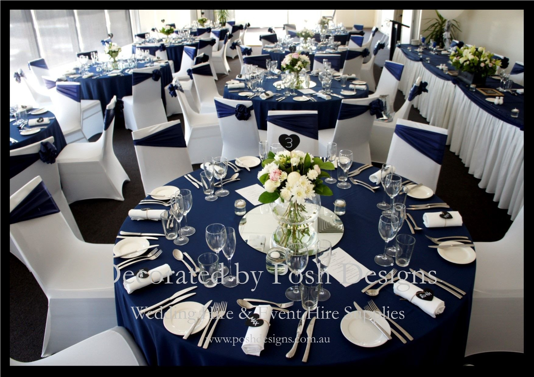 Navy Blue and White Decor Elegant Navy Blue and White Wedding Decorations for Hire andrea S Wedding In 2019