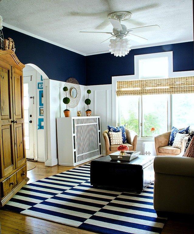 Navy Blue and White Decor Fresh Navy and White Board & Batten Living Room Design