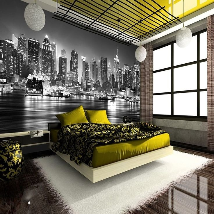 New York themed Home Decor Lovely New York City at Night Skyline View Black & White Wallpaper Mural Photo Giant Wall Poster Decor