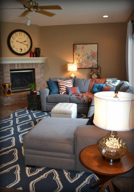 Orange Traditional Living Room Awesome Casual orange Blue and Gray Family Room Traditional Family Room Omaha by Fluff Interior