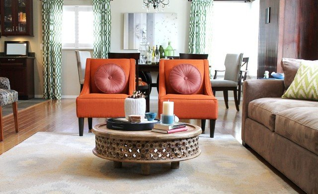 Orange Traditional Living Room Awesome orange Transitional Chairs and Rustic Coffee Table Traditional Living Room Los Angeles