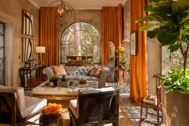Orange Traditional Living Room Best Of Greystone Mansion solarium Lounge Traditional Living Room Los Angeles by Casa Wasy