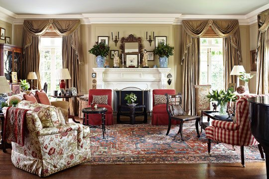 Orange Traditional Living Room Fresh House with Vibrant Colors and Patterns