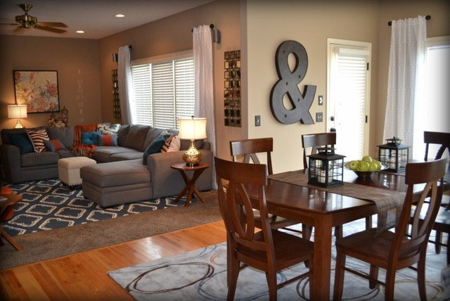 Orange Traditional Living Room Lovely Casual orange Blue and Gray Family Room Traditional Family Room Omaha by User