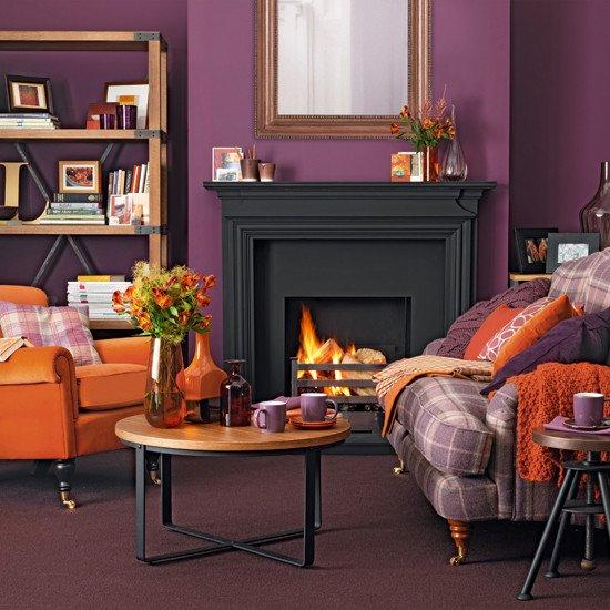 Orange Traditional Living Room Lovely Purple and orange Living Room