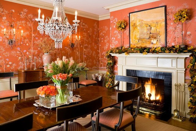 Orange Traditional Living Room New Hand Painted Wallpaper Traditional Dining Room Other Metro by Handpainted Wallpaper