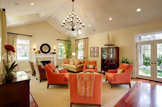 Orange Traditional Living Room Unique A Pop Of orange Traditional Living Room Los Angeles by S Wiley Interior Graphy