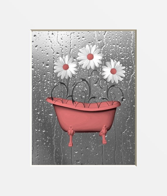 Pictures for Bathroom Wall Decor Unique Coral Gray Bathroom Wall Art Daisy Flowers
