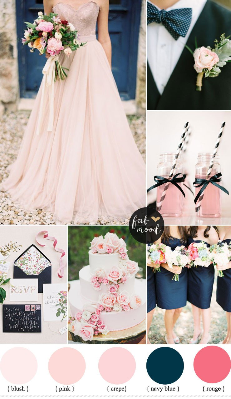 Pink and Blue Wedding Decor Awesome Blush Pink and Navy Blue Wedding Inspiration