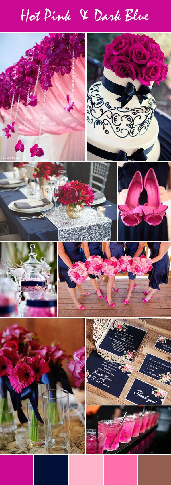 Pink and Blue Wedding Decor Elegant Stunning Bright Pink Wedding Color Ideas with Invitations for Spring & Summer