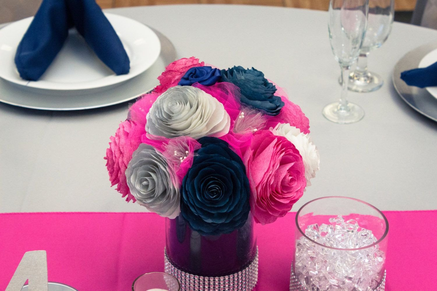 Pink and Blue Wedding Decor Fresh Navy Blue Hot Pink and Silver Wedding Table Centerpieces Reception Decor Bridal Shower Decor