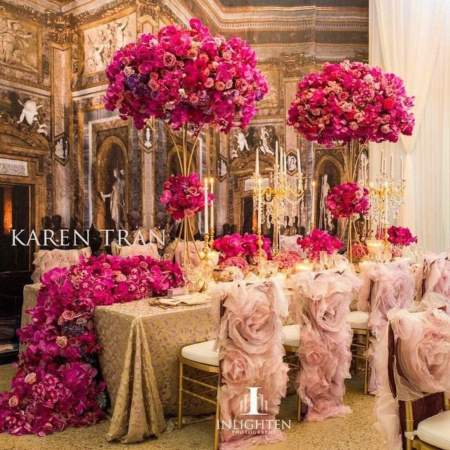 Pink and Gold Wedding Decor Elegant Glam Light Pink Dark Pink and Gold Wedding Decor with Tall Centerpieces