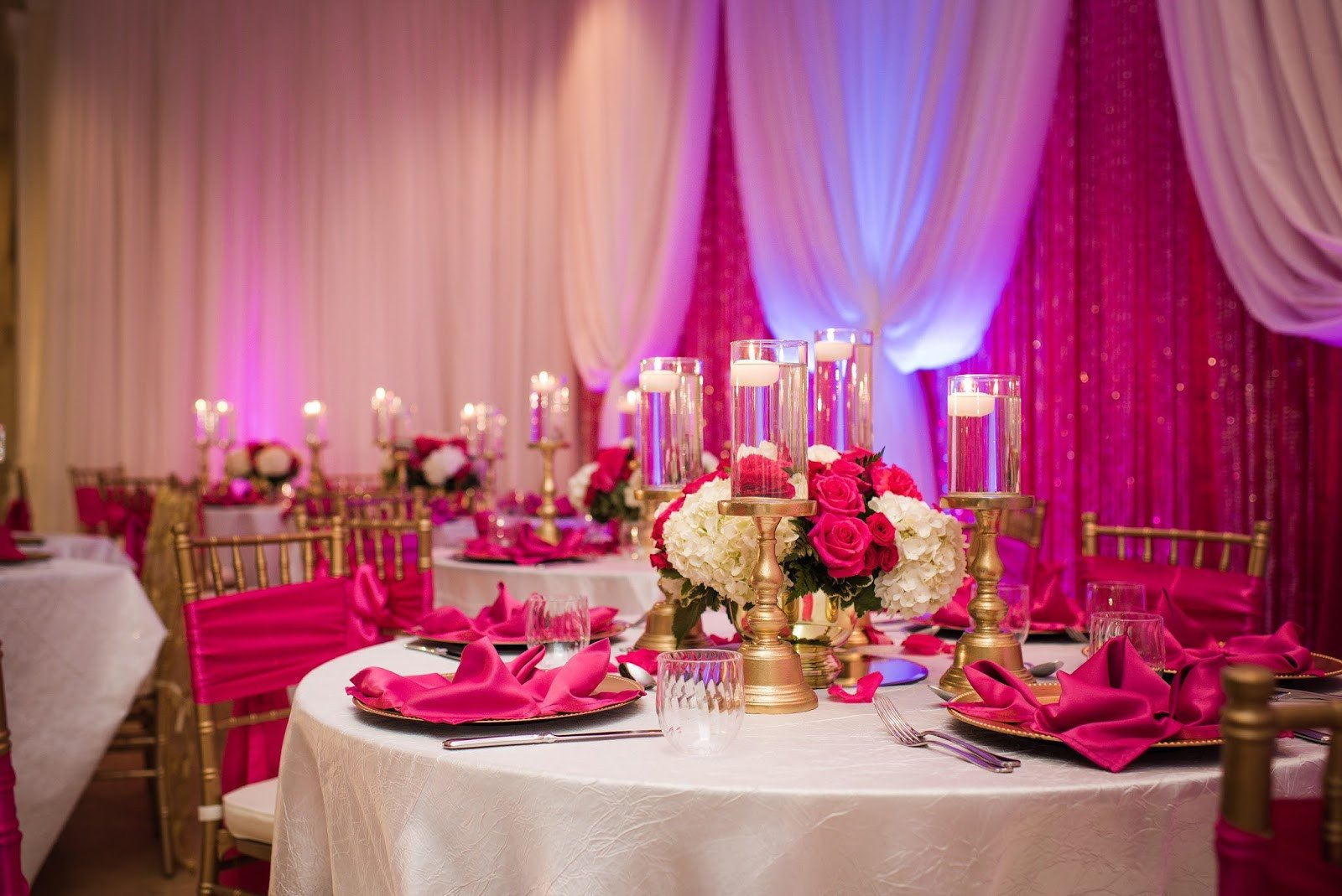 Pink and Gold Wedding Decor Fresh Heaven Brides Fuchsia Pink and Champagne Gold Bo